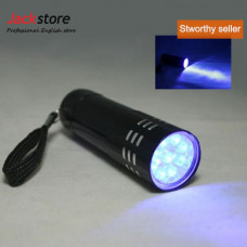 Black 9 Led Ultraviolet Torch  Light Aluminum Uv Flash Light