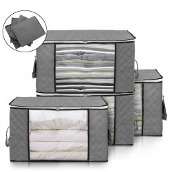4 Pcs Foldable Clothes Storage Bag Blanket Quilt Closet Organizer Holder