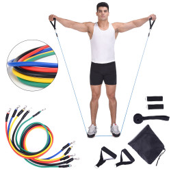 11Pcs/Set Home Resistance Bands Kit Set Yoga Band Gym Pull Rope Fitness Training Exercise Tools