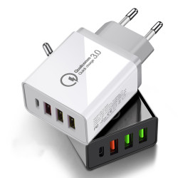 OLAF 36W QC3.0 PD 4-Port USB Type-C Output Quick Charge USB Charger Universal Travel Charger for iPhone 11 Pro Max for Samsung S10 S9 HUAWEI Xiaomi Redmi LG