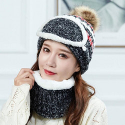 Beanie Warm Winter Pom Wooly Cap Knit Mask Cap Bib Ear Protector