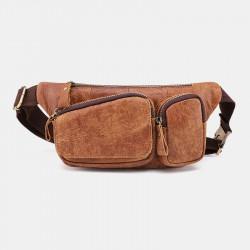 Men Genuine Leather Vinatge Multi-Pocket Chest Bag Shoulder Bag Waist Bag
