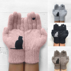 Women's Wool Gloves Autumn Winter Outdoor Warm Cold Padded Cat Bird Print Glove