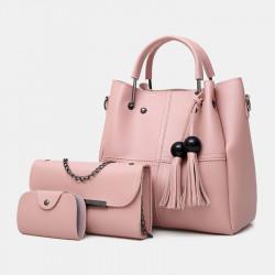 Women 3Pcs Tassel Multi-function Handbag Crossbody Bag