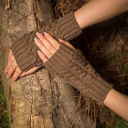 Women Half-finger Warm Glove Knit Typing Thick Wool Gloves