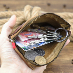 Men Genuine Leather Vinatge Casual Zipper Cash Wallet