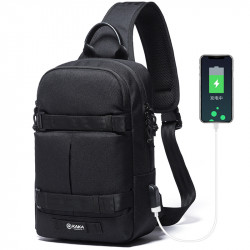 KAKA USB Anti Theft Crossbody Bag Oxford Shoulder Bag Chest Waist Bag Men Travel Bag