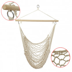 135 x 90CM Portable Outdoor Swing Cotton Hammock Chair Wooden Bar Hanging Rope Chair For Garden Patio Yard Porch