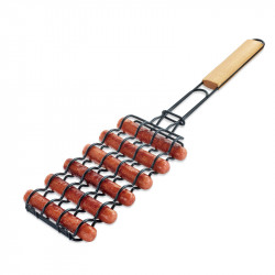 BOLEEFUN Non-Stick Sausage Grilling Basket Metal Mesh Adjustable Sausage Rosewood Handle Grill Rack for Barbecue Tools