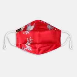 Red Print Vintage Silk Crepe Double Face Mask Breathable Mask Floral Vintage Mask