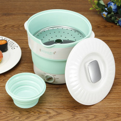 Silicone Portable Folding Electric Hot Pot Heated Food Container Cooker Camping