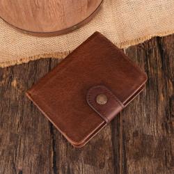 Men Genuine Leather Vintage Retro RFID Blocking Anti-theft Zipper Coin Wallet
