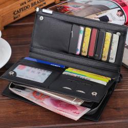 Men Faux Leather Long Simple Zipper Wallet Multi-Card Holder Zipper Phone Bag