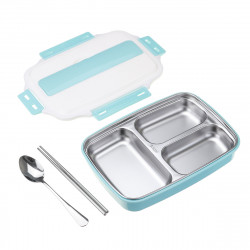 1.1L Stainless Steel Lunch Box Camping Picnic Tableware Food Container Leak-Proof Dinner Box