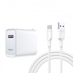 Baseus GS-QC571A 22.5W 5A QC3.0 Foldable Smart Quick Charge USB Charger with 5A Data Cable for Samsung S10+ Redmi K30 5G Tablet Notebook