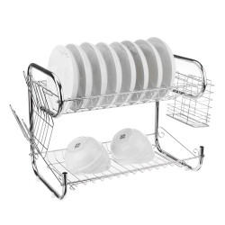 2 Layers 9 Shape Stainless Steel Dish Drainer Cutlery Holder Rack Drip Tray Kitchen Storage Tool
