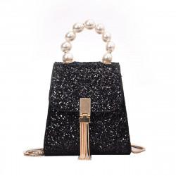 Mini Women Square Bag Pearl Glitter Leather Sequins Handbag Girls Shoulder Bag