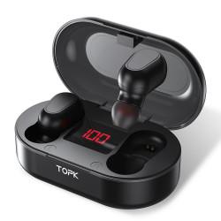 TOPK F23 TWS bluetooth 5.0 Digital Display Earphone Wireless Stereo In-ear Earbuds Headphone with Charging Box