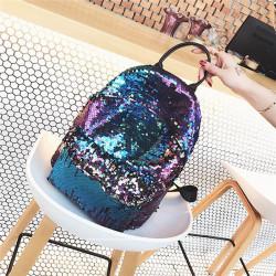 Women Chic Sequins Glitter Bling Backpack Back To School Travel Shoulder Bag