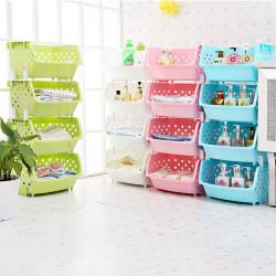 4 Tiers Plastic Stacked Storage Basket Fruit Vegetables Holders Shelf Rack Store for Kitchen Tools