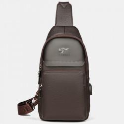Men Faux Leather Fashion Chest Bag Shoulder Bag Crossbody Bag With USB Charging Port