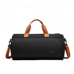 Canvas Wet Dry Separation Shoes Yoga Bag Sports Fitness Cylindrical Gym Bag Travel Luggage Shoulder Bag
