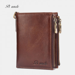 Men Genuine Leather RFID Blocking 6 Card Slots Zipper Coin Wallet