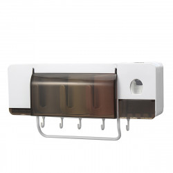 Automatic Toothpaste Dispenser Toothbrush Holder Wall Mounted Storage Stand + 2/3/4 Cups