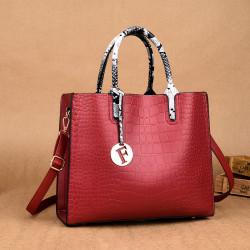 Women Fashion Elengant Large Capacity Handbag Shoulder Bag Crocodile Pattern Toe