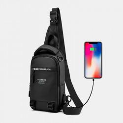 Men Fashion Chest Bag Shoulder Bag Crossbody Bag With USB Charging Port