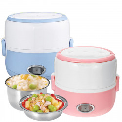 230W 1.3L Portable Electric Stainless Steel Lunch Bento Box Picnic Bag Heated Food Storage Warmer Hot Container
