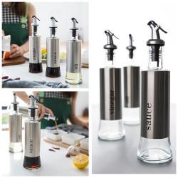 KCASA 300ML Olive Oil Dispenser Bottles with Funnel Stainless Steel Oil Pourer Dispensing Bottles Oil Vinegar Sauce Bottle