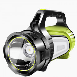 XANES 881-B 2 Light Source 300W 3000LM Super Bright Flashlight USB Rechargeable 1000m Searchlight Main Light + Side Light Power Display