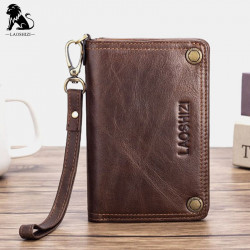 Men Genuine Leather Vintage RFID Blocking Anti-theft Long Chain Zipper Wallet