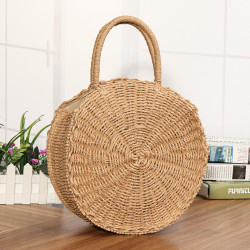 Round Women Girls Straw Rattan Bag Circle Handbag Handwoven Summer Beach Bali