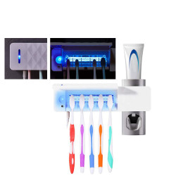 3 in 1 UV Wall Mounted Toothbrush Holder Sterilizer Automatic Toothpaste Dispenser Toothbrush Cleaner