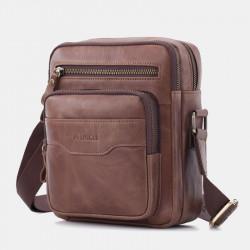 Men Vintage Gneuine Leather Shoulder Bag Crossbody Bag Casual Business Bag