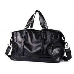Large Capacity PU Leather Men Luggage Handbag Waterproof Sports Gym Yoga Shoulder Bag Travel Duffel Bag