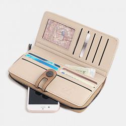 Women RFID Blocking Buckle Wallet Zip Around Phone Clutch Large Purse