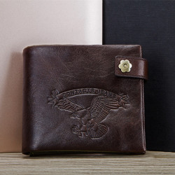 Men Casual Genuine Leather Wallet Men's Buckle Tri-fold Wallet Zipper Coin Bag