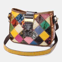 Women Casual Genuine Leather Handbags Patchwork Crossbody Bag Shoulder Bag