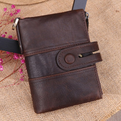 Men Vintage Genuine Leather RFID Blocking Anti-Theft Retro Wallet Double Zipper Coin Bag