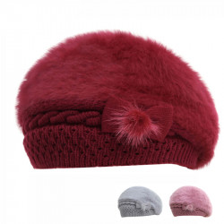 Bow Beret Outdoor Warm Hat Fur Winter Hat Beret Caps