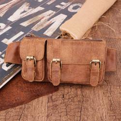 Men Genuine Leather Multifunctional Multi-Pocket Anti-theft Chest Bag Shoulder Bag