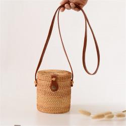 Women Girls Rattan Straw Bucket Shoulder Hand Woven Bag Tote Summer Beach