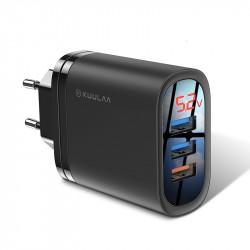 KUULAA 18W 3 USB QC3.0 Digital Display Fast Charging USB Charger Adapter For iPhone XS XR 11 Pro Oneplus 7T Pro Huawei P30 Pro Xiaomi Mi9 9Pro 5G