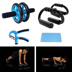 Home Strength Training Fitness Set Abdominal Wheel Roller Push Up Stand Fitness Gloves Hand Gripper Jumping Rope