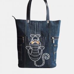 Women Cat Pattern Handbag Large Capacity Leisure Shoulder Bags