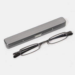 Women Men Three-color Portable Mini Square Frame Reading Glasses With Pen Holder