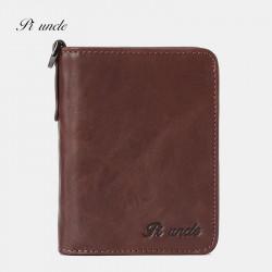 Men Genuine Leather Vintage RFID Blocking Zipper Coin Wallet Card Holder